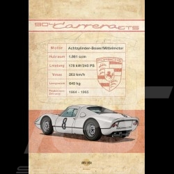 Poster Porsche 904 Carrera GTS printed on Aluminium Dibond plate 40 x 60 cm Helge Jepsen