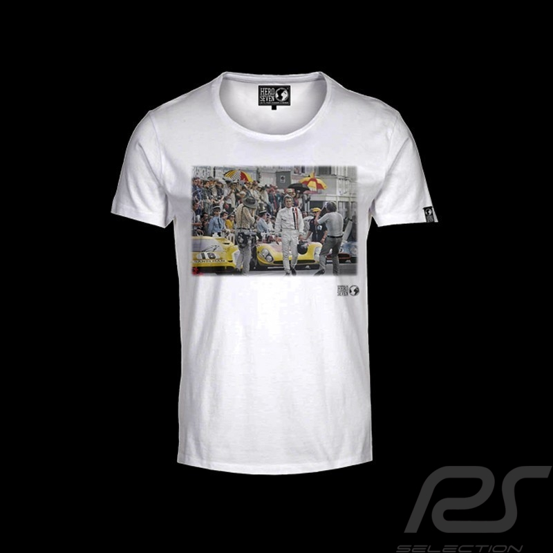 t shirt steve mcqueen le mans starting line white men selection rs. Black Bedroom Furniture Sets. Home Design Ideas