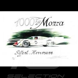 Porsche 908 n° 5 1000 km Monza original drawing by Sébastien Sauvadet