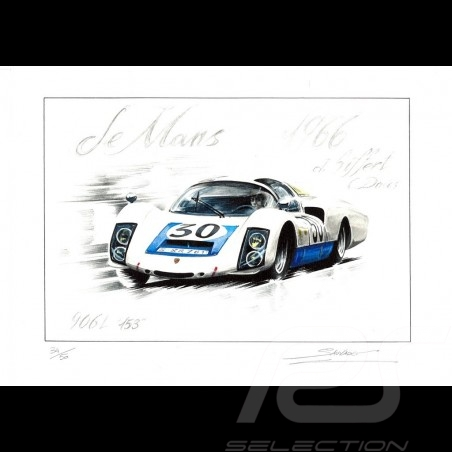 Porsche 906 n° 30 Le Mans 1966 dessin original de Sébastien Sauvadet