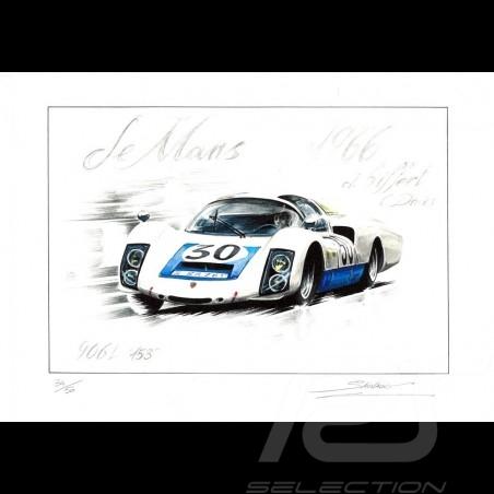 Porsche 906 n° 30 Le Mans 1966 original drawing by Sébastien Sauvadet