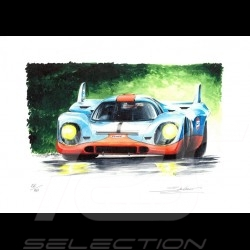 Porsche 917 Gulf n° 1 original drawing by Sébastien Sauvadet