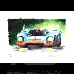 Porsche 917 Gulf n° 1 Original Zeichnung von Sébastien Sauvadet