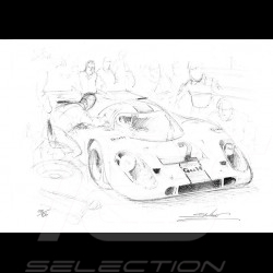 Porsche 917 Gulf n° 2 original drawing by Sébastien Sauvadet