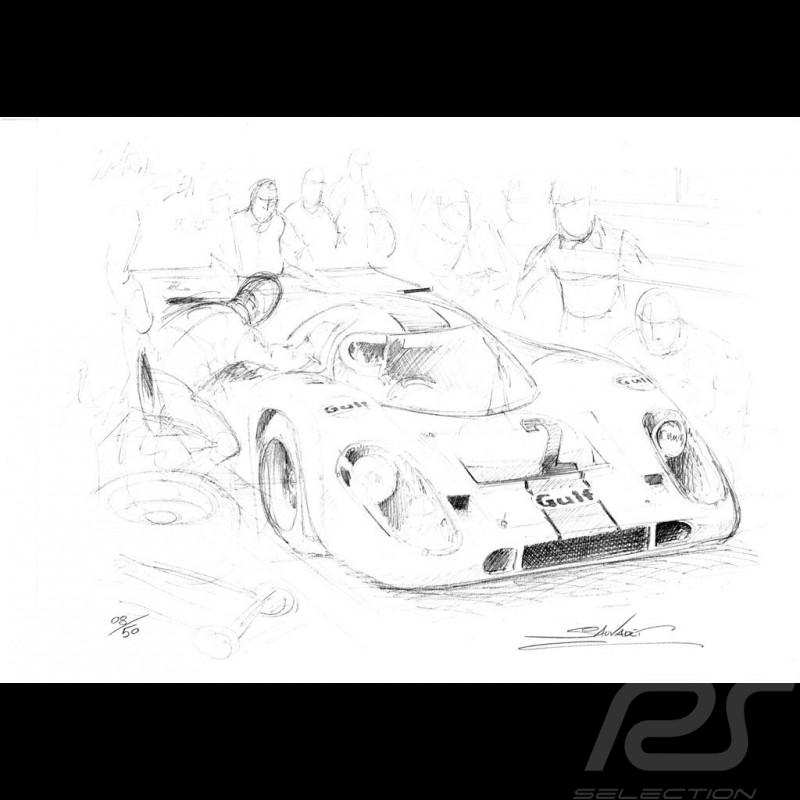 Porsche 917 Gulf n° 2 dessin original de Sébastien Sauvadet