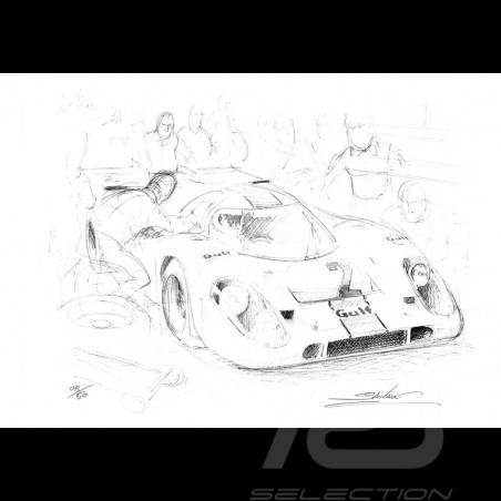 Porsche 917 Gulf n° 2 original drawing by Sébastien Sauvadet