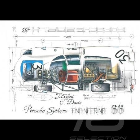 Porsche 906 LH n° 30 Le Mans 1966 original drawing by Sébastien Sauvadet