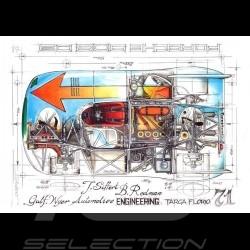Porsche 908 03 Gulf Wyer n° 7 Targa Florio 1971 Original Zeichnung von Sébastien Sauvadet