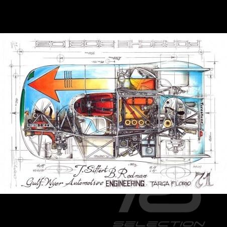 Porsche 908 03 Gulf Wyer n° 7 Targa Florio 1971 original drawing by Sébastien Sauvadet