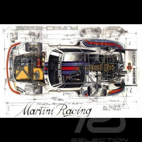 Porsche 935 Martini 1976 Original Zeichnung von Sébastien Sauvadet