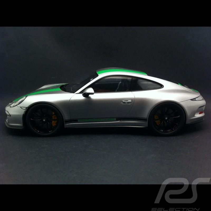 Porsche 911 type 991 R grise / verte 1/18 Spark WAP0211460H
