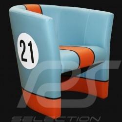 Fauteuil cabriolet Racing Inside n° 21 bleu Racing team / orange