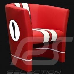Tub chair Racing Inside n° 1 red GT racing / white