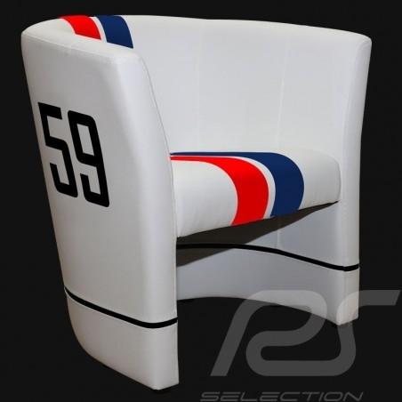 Fauteuil cabriolet Tub chair Tubstuhl  Racing Inside n° 59 bleu / blanc / rouge