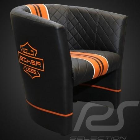 Fauteuil cabriolet Tub chair Tubstuhl Racing Inside wild biker noir / orange