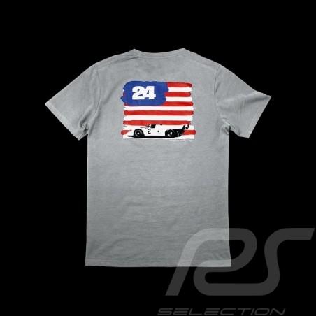 T-shirt Porsche drapeau américain US flag amerikanische flagge grau grey gris clair Porsche design WAP982 homme men herren