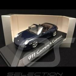 Porsche 911 type 997 Carrera 4 Cabriolet 2005 bleu blue blau 1/43 Minichamps WAP02015216