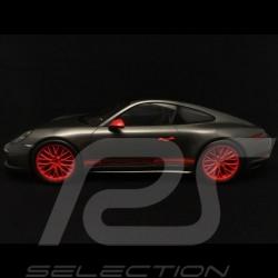 Porsche 911 type 991 Carrera 4S phase 2 gris / orange 1/18 Spark WAX02100013
