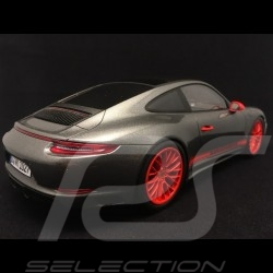 Porsche 911 type 991 Carrera 4S phase 2 gris agate / orange 1/18 Spark WAX02100013