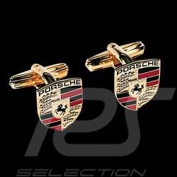 Boutons de manchette cufflinks Manschettenknöpfe Porsche écusson crest wappen dorés gold Porsche Design WAP05014015