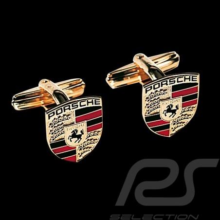 Boutons de manchette cufflinks Manschettenknöpfe Porsche écusson crest wappen dorés gold Porsche WAP05014015