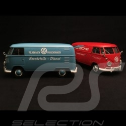 Duo VW combi T1 transporteur Carrier Träger Porsche rouge et bleu red and blue rot und blau 1/24 Motormax 795574 et 795567
