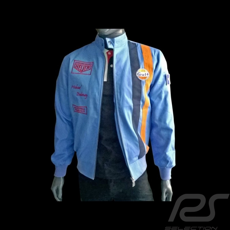 Gulf Jacket Steve Mc Queen Le Mans Cobalt Blue Cotton Men Selection Rs