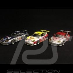 Trio Porsche 996 GT3 RSR  Le Mans 2005 Podium GT2 Klassen 1/43 Minichamps 400056480 400056490 400056471