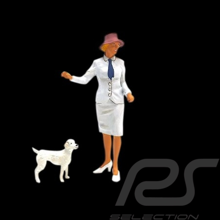 Porsche elegant lady with dog 1/18 Figurine diorama AE180047