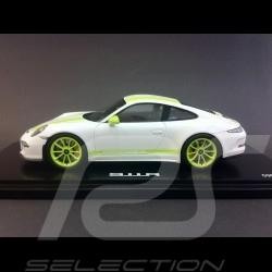 Porsche 911 type 991 R 2016 white green stripes 1/18 Spark WAX02100026