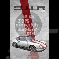 Poster Porsche 911 R 1967 printed on Aluminium Dibond plate 40 x 60 cm Helge Jepsen