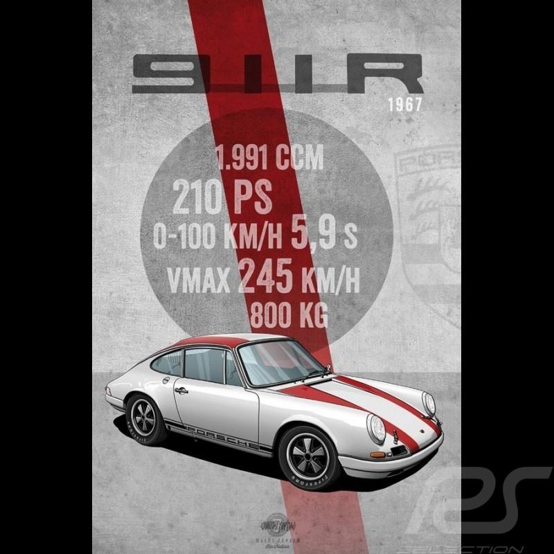 Affiche Poster Plakat Porsche 911 R 1967 imprimée sur plaque Aluminium Dibond 40 x 60 cm Helge Jepsen