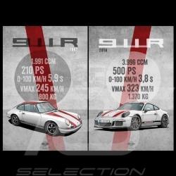 Duo affiches Posters Plakat Porsche 911 R 1967 et Porsche 911 R 2016 imprimées sur plaque Aluminium Dibond 40 x 60 cm Helge Jeps