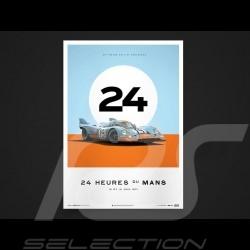 Porsche Poster affiche Plakat 917 K le Mans 1971 n° 19 Gulf Unique & Limited 15/015