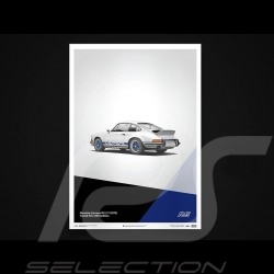 Porsche Poster Affiche Plakat 911 Carrera RS 1973 Blanc white weiß Grand Prix / bleu blue blau Unique & Limited 16002