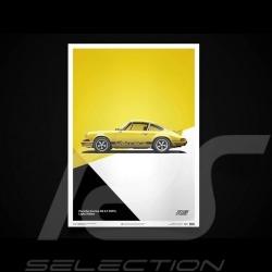 Porsche Poster Affiche Plakat 911 Carrera RS 1973 Jaune clair light yellow lichtgelb