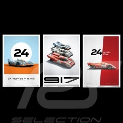 Set 3 Porsche Poster Affiches Plakat 917 K Le Mans 1970 1971 n° 19 n° 22 n° 23