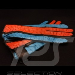 Gants de conduite Gulf Racing cuir orange et bleu Driving Gloves orange and blue leather Fahren Handschuhe Leder orange und blau