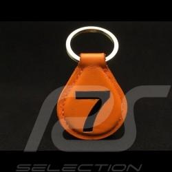 Gulf Porte-clés racing cuir orange n° 7 noir Keyring orange leather Schlüsselanhänger orange Lederplatte