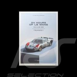 Le Mans Poster Ford GT40 MKII-A 1966 Blau