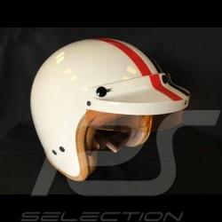 Casque Helmet Helm Steve McQueen Ivoire Ivory Elfenbein bandes stripes Streifen rouge et bleu red and blue rot und blau