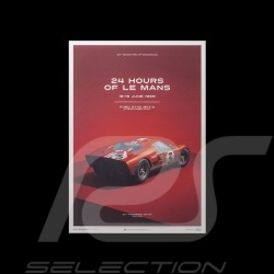 Le Mans Poster Ford GT40 MKII-A 1966 Red