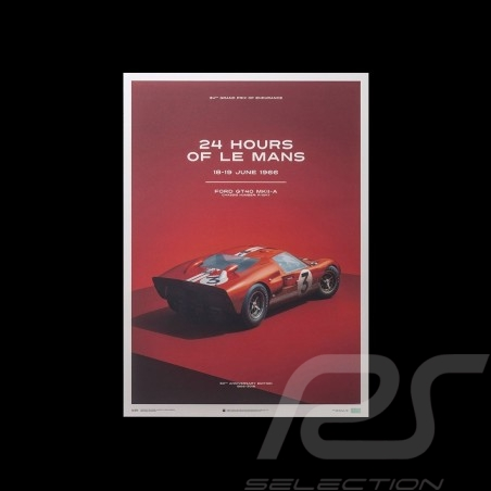 Le Mans Poster Ford GT40 MKII-A 1966 Rouge Red Rot