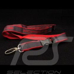 Porte clé Porsche tour de cou Key strap Schlüsselring Halsband rouge red rot et gris grey grau Le Mans 2015 Motorsport collectio