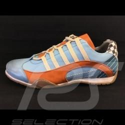 Sneaker / basket shoes style race driver Gulf blue - men
