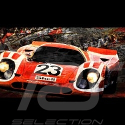 Poster Porsche 917 K n° 23 vainqueur winner Sieger Le Mans 1970  80 x 44,7 oeuvre originale original art Kunst Caroline Llong
