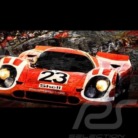 Plakat Porsche 917 K n° 23 Sieger Le Mans 1970 80 x 44.7 Kunst von Caroline Llong