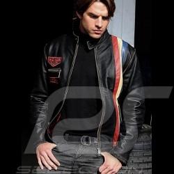Veste Gulf cuir noir vintage racing - homme