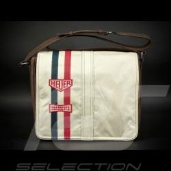 Sac reporter Gulf bandoulière beige cuir / tissu Messenger bag Gulf beige leather / fabric Messengerbag Gulf beige Leder / Stoff