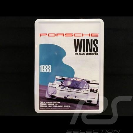 Carte postale Postcard Postkarte Porsche métal avec enveloppe Porsche 962 vainqueur Miami 1988